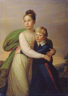 Gerhard Franz von Kügelgen: Die Kinder Friedrichs III. von Preussen, Prinz Albrecht und Prinz. Luise