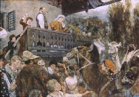 Adolph von Menzel: Wanderzirkus in Partenkirchen