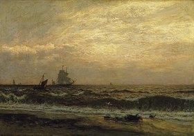Julius Friedrich Runge: Meeresbild mit Schiffen