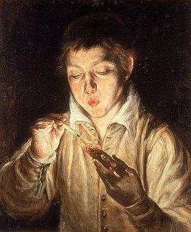 Greco El (Dominikos Theotokopoulos): Knabe, auf brennende Kohle blasend