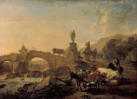 Nicolaes Berchem: Italienische Landschaft mit Brücke