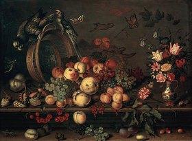 Balthasar van der Ast: Stillleben mit Früchten, Blumen und Papageien