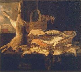 Abraham van Beyeren: Stillleben mit Fischen und totem Hasen
