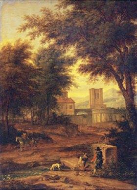 Adrien Boudewyns: Italienische Landschaft mit Pilgern