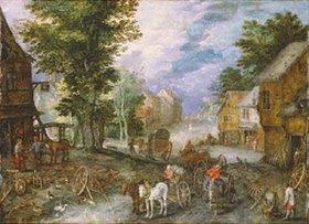 Jan Brueghel d.Ä.: Dorflandscahft mit Schmiede