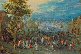 Jan Brueghel d.Ä.: Landschaft mit Fuhrwerken und Blick auf einen Fluss