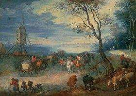 Jan Brueghel d.Ä.: Landschaft mit Windmühle