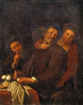 Holländischer Meister: Eier essender Mann bei einer Kupplerin