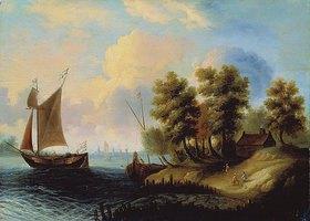 Holländischer Meister: Seelandschaft mit Segelschiff in der Dämmerung