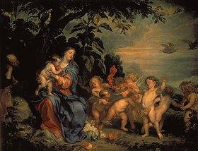 Anthonis van Dyck: Rast auf der Flucht nach Ägypten (mit dem Papagei). 1630er Jahre