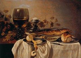 Pieter Claesz.: Frühstücks-Stillleben mit Fisch