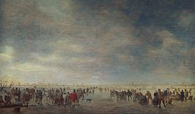 Jan van Goyen: Eisfläche mit vielen Schlittschuhläufern