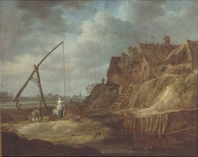 Jan van Goyen: Landschaft mit Ziehbrunnen