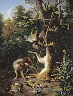 Pieter Gysels: Jagdstillleben mit totem Hasen