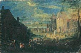 Pieter Gysels: Kirmestreiben vor einer Kirche