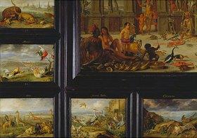Jan van Kessel: Aus dem ZyklusDie vier Erdteile: Randbilder links unten der Tafel Amerik