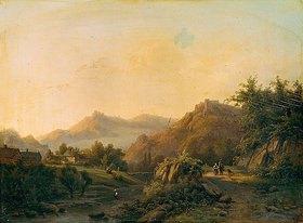 Barend Cornelisz Koekkoek: Bergige Landschaft mit Weg