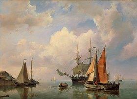 Marin Adriaen Koekkoek: Meereslandschaft mit Segelschiffen