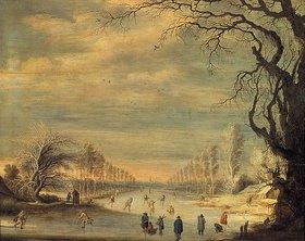 Gysbrecht Lytens: Winterlandschaft mit Eilsäufern auf einem Kanal