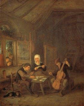 Adriaen van Ostade: Musizierender Mann in bäuerlichem Interieur