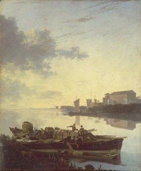 Adam Pynacker: Lastkahn auf einem Fluss bei Sonnenuntergang
