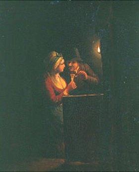 Godfried Schalcken: Mann und Frau im Gespräch bei offenem Licht