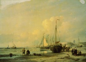 Andreas Schelfhout: Boote am Meeres-Ufer