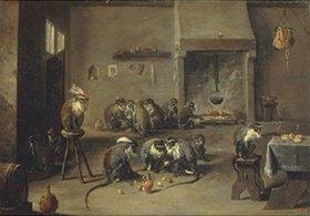 David Teniers: Affen in einer Küche