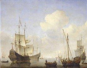 Willem van de Velde d.J.: Schiffe an der West-Afrikanischen Küste. 1660-er Jahre
