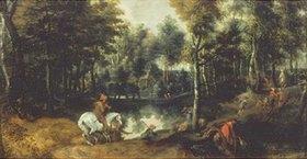 Jan Wildens: Schimmelreiter in Waldlandschaft. 1620-er Jahre