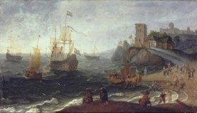 Isaac Willaerts: Seehafen mit Fischmarkt