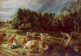 Peter Paul Rubens: Polderlandschaft mit einer Kuhherde