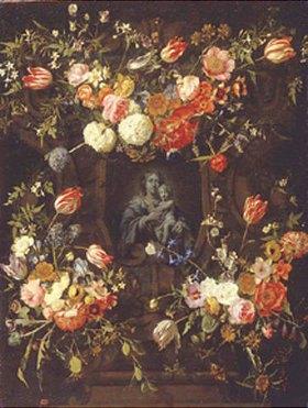 Frans Ykens: Madonna im Blumenkranz. 1662. Ausgeführt zusammen mit Erasmus II. Quellinus