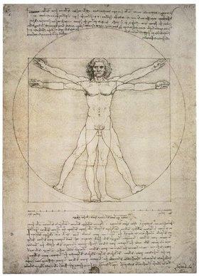 Leonardo da Vinci: Porportionszeichnung, nach Vitruv