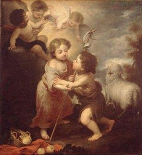 Bartolomé Estéban Murillo: Der Jesusknabe mit dem jungen Johannes d.T