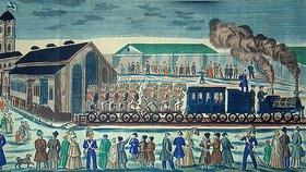 Anonym: Abfahrt der St. Petersburger Eisenbahn von Mosk