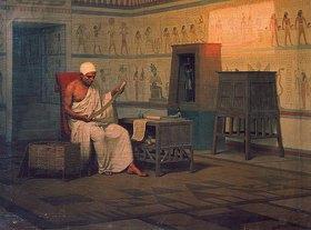 Stephan Bakalovitsch: Ägyptischer Priester beim Studium einer Papyrus-Rolle. Nach