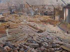 Isaak Brodskij: Ansicht der Grossbaustelle Dnjeprostroj