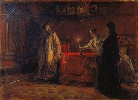 Nikolai Gay: Zar Boris Godunov verhört die Zarin Marfa. 1874.