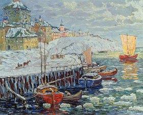 Konstantin Gorbatov: Winterliche Anlegestelle einer alten russischen Stadt