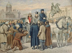 Alexej Kivschenko: Zar Alexander I. verliest 1861 sein Manifest in St. Petersburg