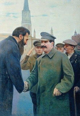 Jakov Kalinischenko: Die Begegnung von Stalin mit O. Schmidt. 1930-er Jahre