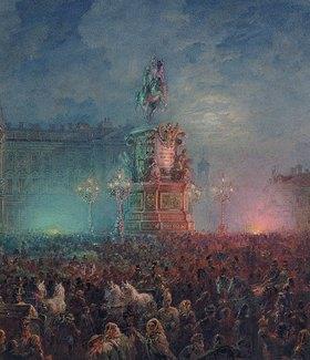 Wassily Sadovnikov: Die Enthüllung des Denkmals Nikolaus I. in St. Petersburg