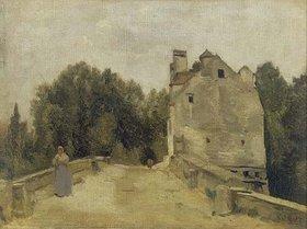 Jean-Baptiste Camille Corot: Brücke und Mühle in Mantes (Mantes, l`entree du pont)