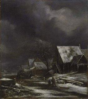 Jacob Isaacksz van Ruisdael: Winterliche Dorfansicht bei Mondschein