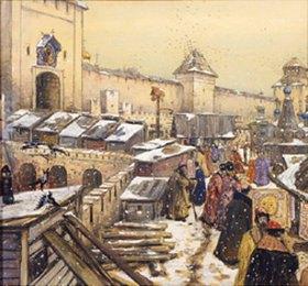 Apolinarij Wasnezow: Buchläden auf der Spaskij-Brücke in Moskau im 17. Jahrhundert