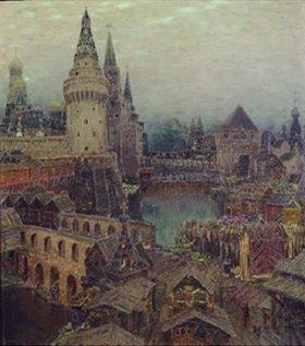 Apolinarij Wasnezow: Moskau im 17. Jahrhundert. Abenddämmerung am Auferstehungstor