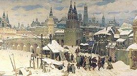 Apolinarij Wasnezow: Die Wseswjatskij-Brücke in Moskau, Ende des 17. Jahrhunderts