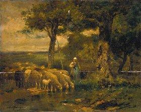 Charles Jacque: Schafe an der Tränke