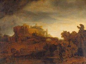 Rembrandt van Rijn: Landschaft mit Schloss